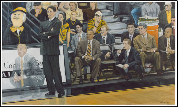 """Deacon Spirit"" proof by Thad Cox with Wake Forest Mens Basketball Coach Skip Prosser and other retired coaches"